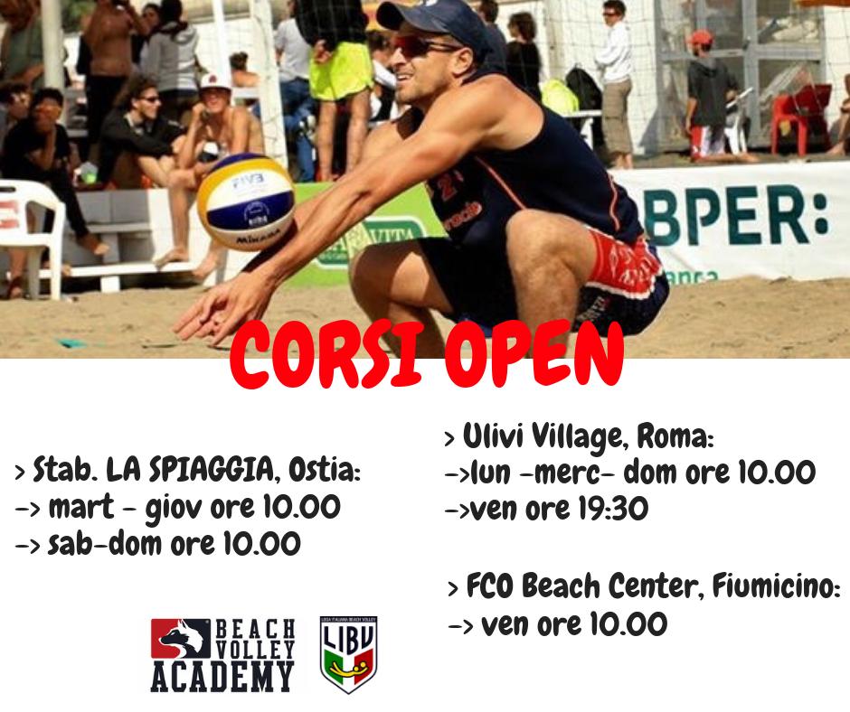 Orari e location corsi open beach volley
